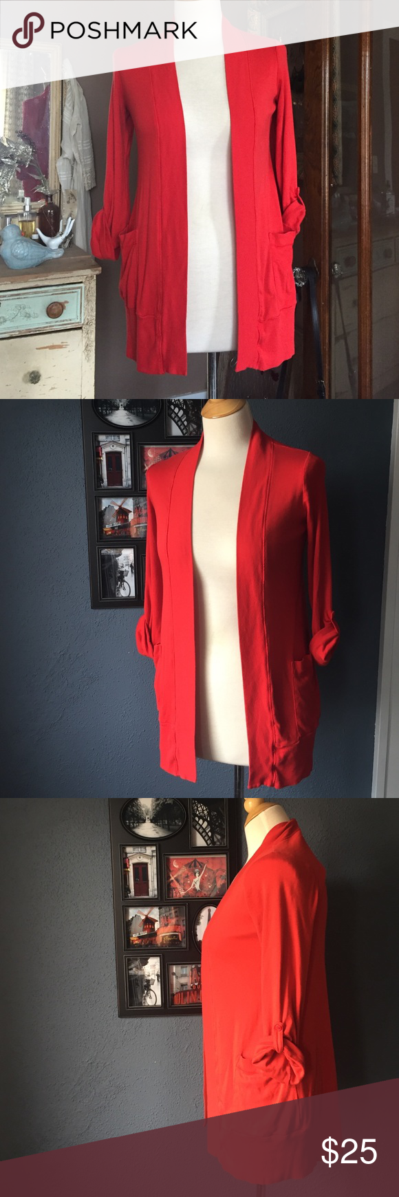 Splendid Cardigan With Tab Sleeves & Pockets S Beautiful Splendid brand bright tomato red pima and modal cotton jersey cardigan with adjustable tab sleeves and pockets. So soft and comfortable. Good quality! Made in America. Worn a handful of times, excellent condition overall with no snags, stains, or holes. From a non-smoking pet-free home. Size small, runs slightly oversized / boyfriend fit. Fits a 4-8 very well. splendid Sweaters Cardigans