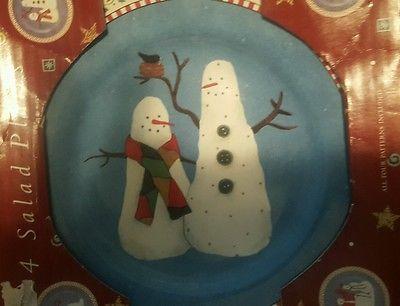 Debbie Mumm Sakura **JOLLY SNOWMEN ** 4pc Set Dessert/Salad Plates