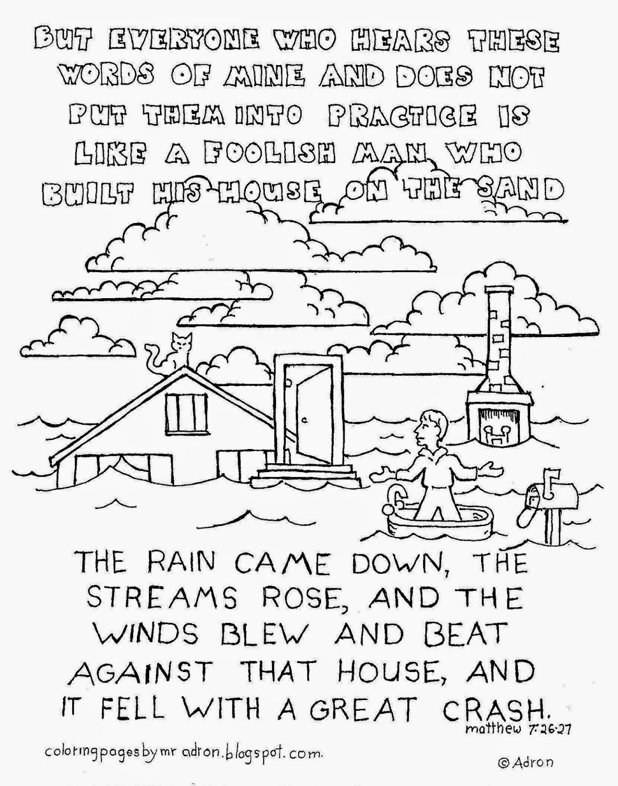 The Man Who Built His House On The Sand Coloring Page See More At My Blog Http Coloringpagesbym Coloring Pages For Kids Coloring Pages Bible Coloring Pages
