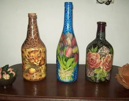 garrafa de vidro com decoupage e craquele - Pesquisa Google