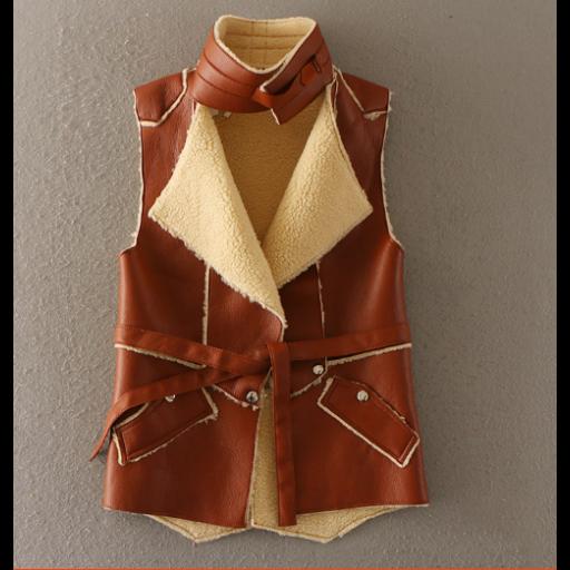 جاكيتات جلد نسائية مبطنة بالصوف جاكيتات كت بدون أكمام بياقة هاينك جاكيتات بتصميم عصري بخطوط مميزة من الجلد الجاكي Jackets Fashion Leather Jacket