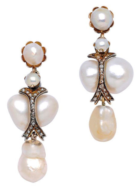 A Pair of Antique Natural Pearl and Diamond Ear Pendants, circa 1900 Each decorated with variously sized and shaped natural pearls accented by curved lines of tiny rose-cut diamonds, mounted in silver and 14k gold.