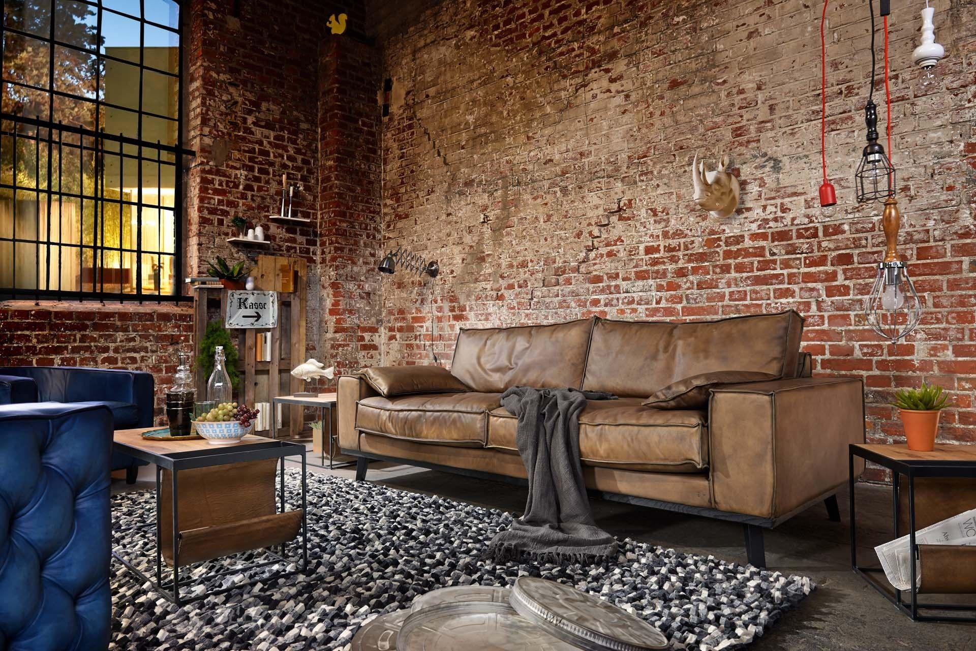 Ledersofa braun antik  Sofa Dwayne Leder Antik 100% von Handgefertigt | Loft ...