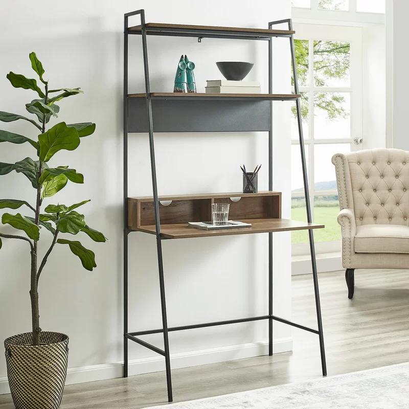 Diego Ladder Desk In 2020 Ladder Desk Leaning Desk Bookshelf Desk