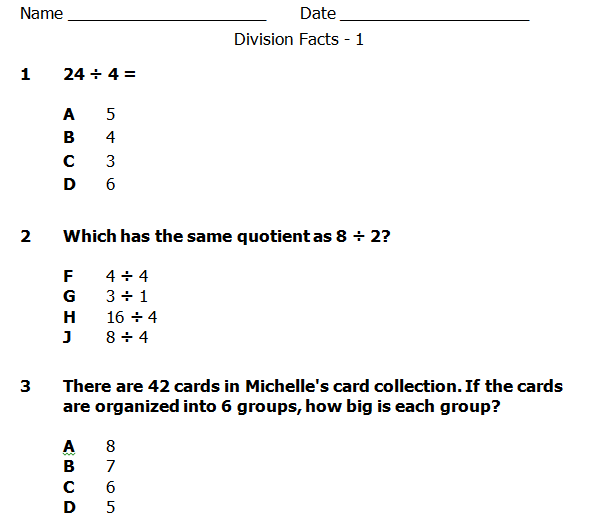 Division Word Problems Pretest and Posttest | Word problems ...
