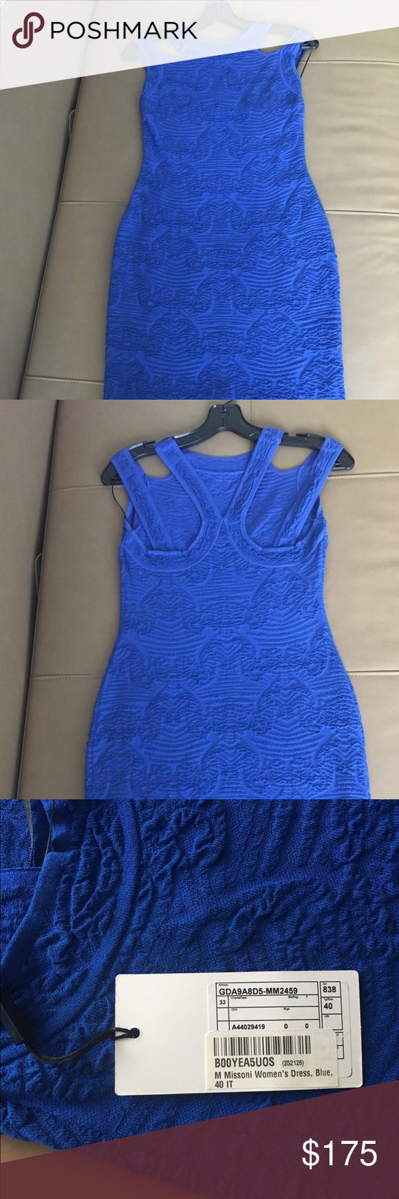 M Missoni Blue Stretch Dress in size 40--4 US ! NWT   Blue dresses ...