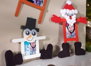 Weihnachtsfiguren als Fotorahmen basteln
