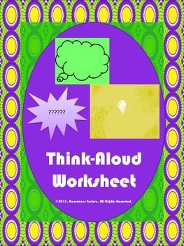 Think-Aloud Worksheet | Teaching | English teaching ...