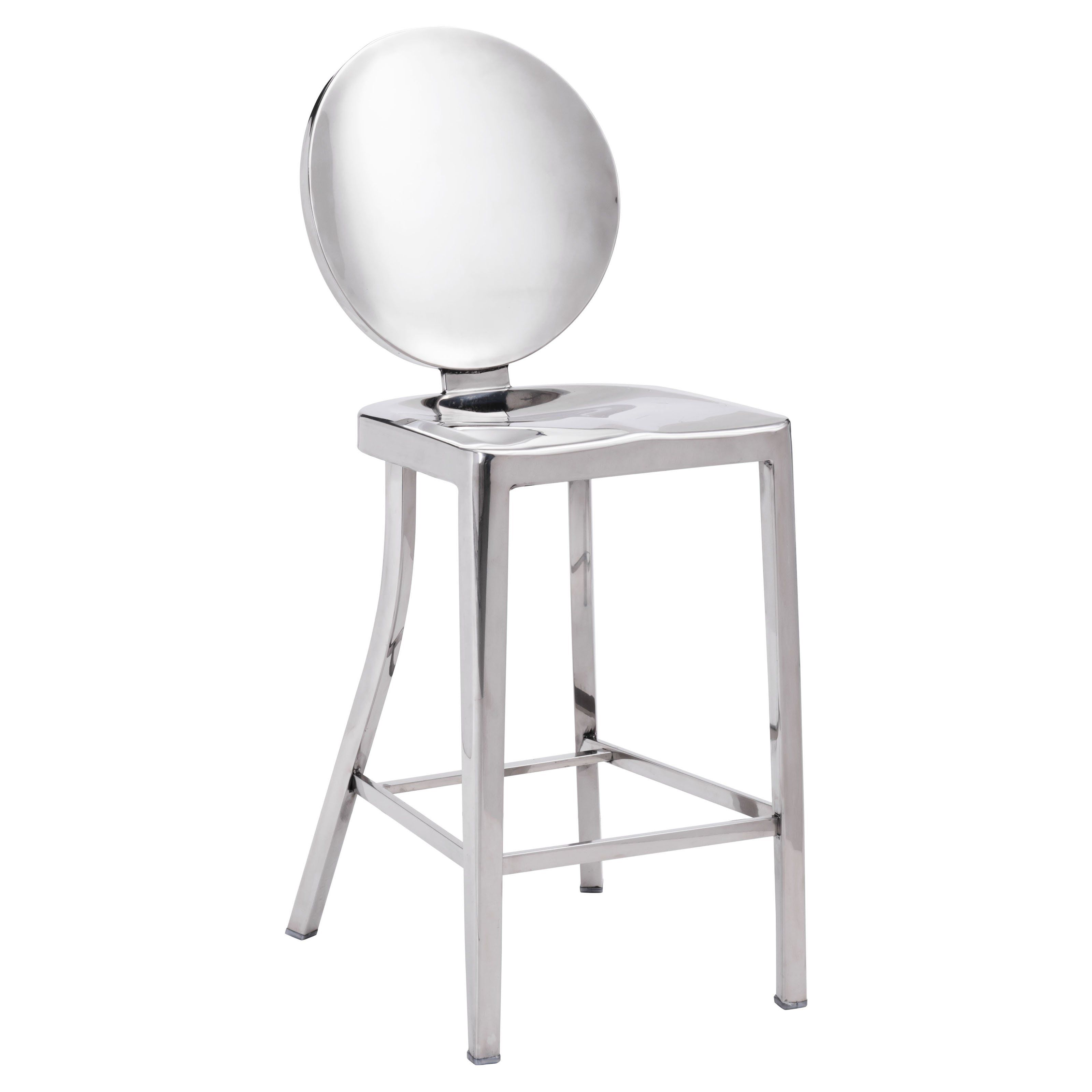 Zuo Modern Autumn Stainless Steel Counter Stool Set of 2