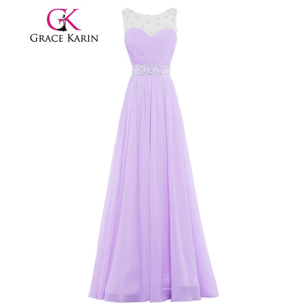 Grace Karin Beautiful Long Pink Purple Lilac Bridesmaid Dresses ...