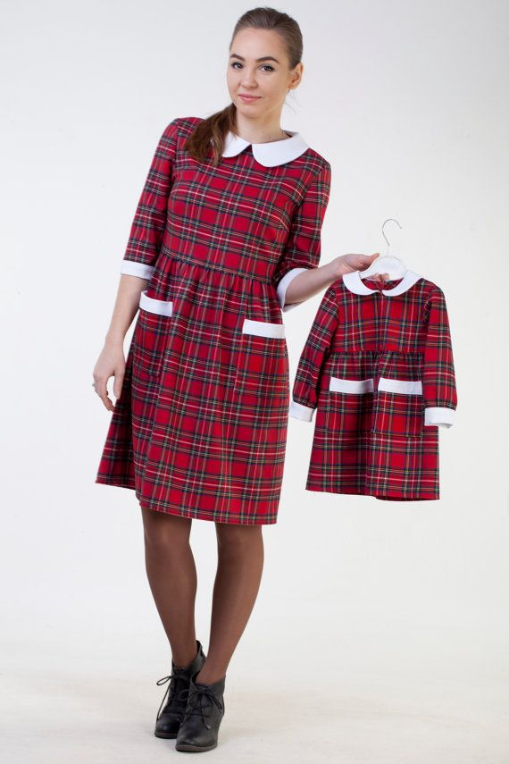 Mother daughter red plaid dress Mother daughter matching dress Mommy ...