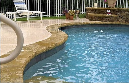 Cool Deck For Pools Gunite Pool With Stone Coping Amp Kool