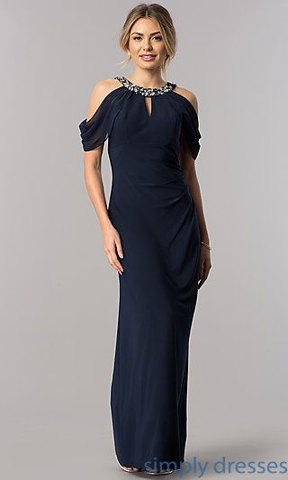 72d01b2a3c8 Mother-of-the-Bride Cold-Shoulder Jeweled Collar Dress in 2019 ...