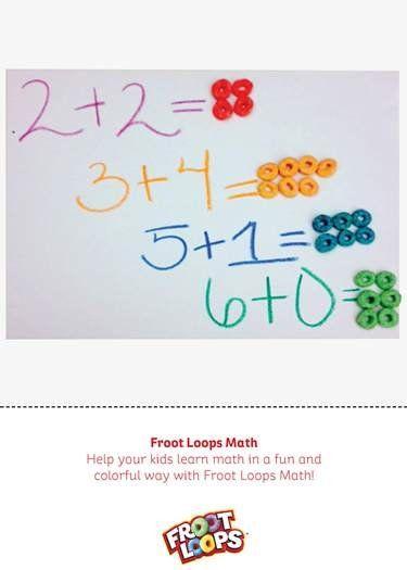 Froot Loops Math – Prepara una actividad matemática para que tu hijo practique las sumas. Escribe una suma de dos números y dile que use Froot Loops para contar la respuesta. Froot Loops + Matemáticas = ¡Diversión!