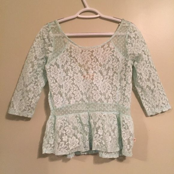 Mint Lace Top This is a mint lace too from Hollister. It has only been worn a few times and is in great condition. Hollister Tops Blouses