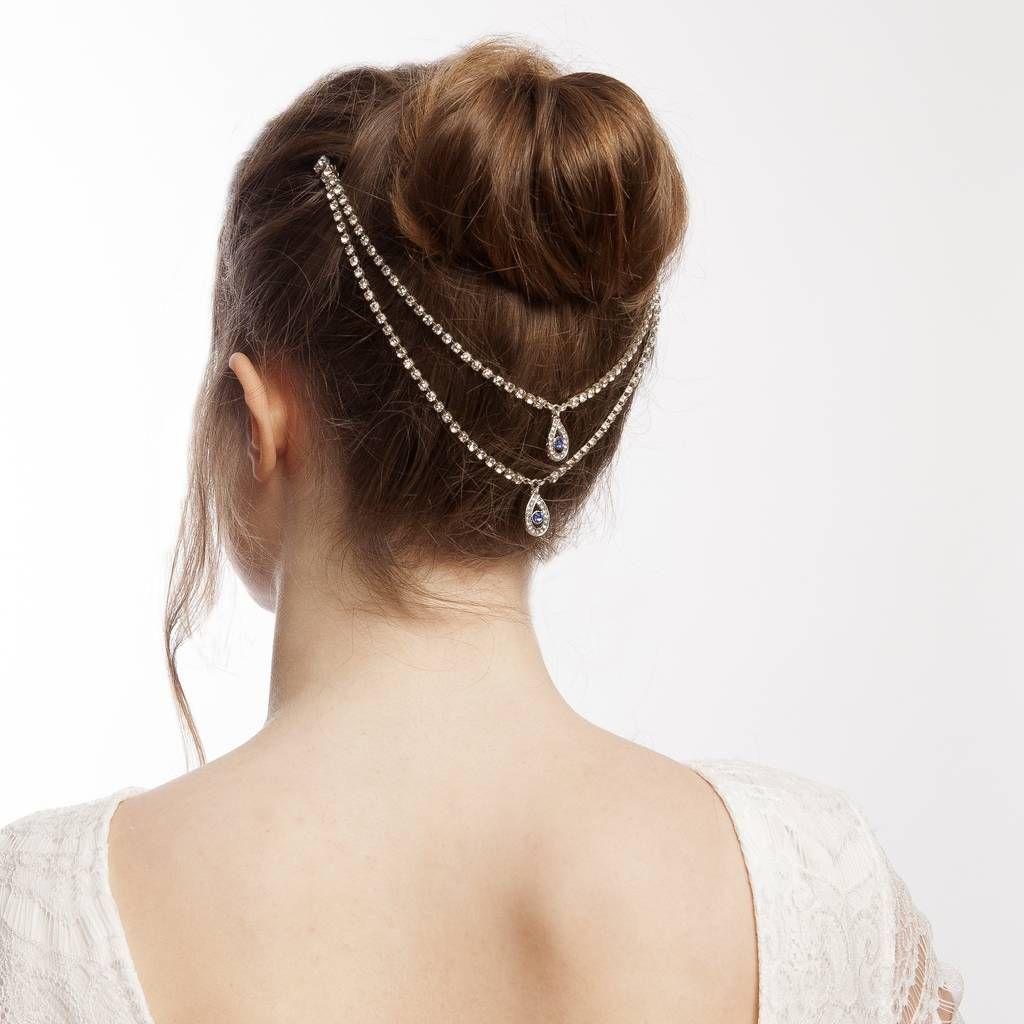 Something Blue Wedding Headpiece Hair Chain