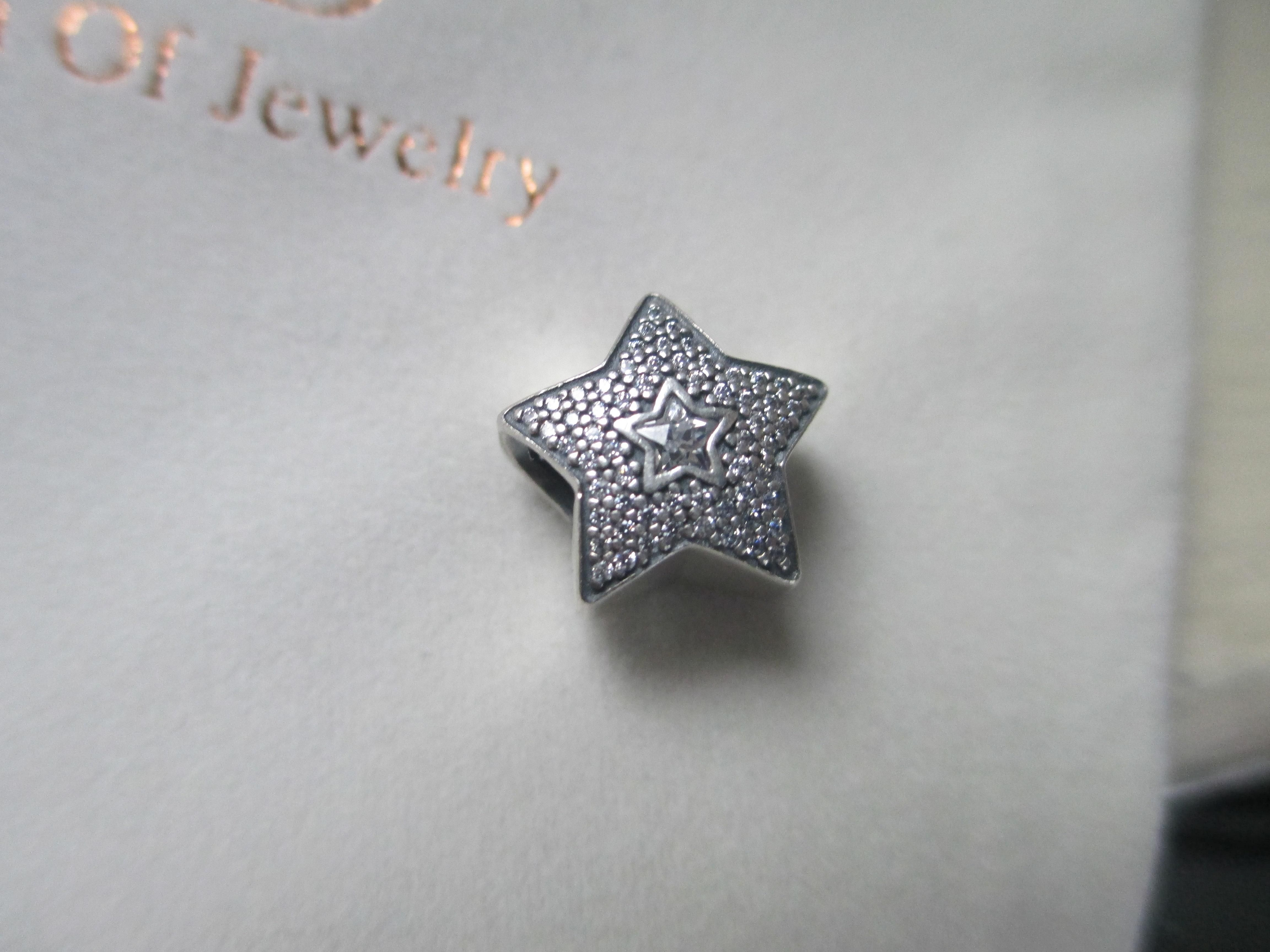 75d77bad8 Authentic Pandora Pave Wishing Star Charm 791384CZ (S925 ALE) with Jared  pouch new.