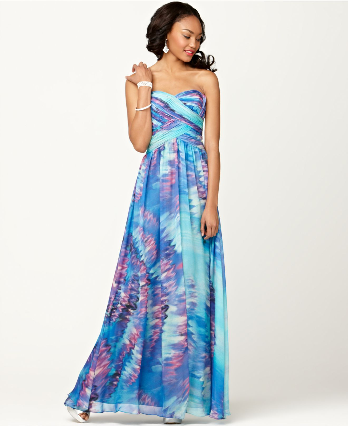 Js boutique dress strapless pleated sweetheart printed evening gown
