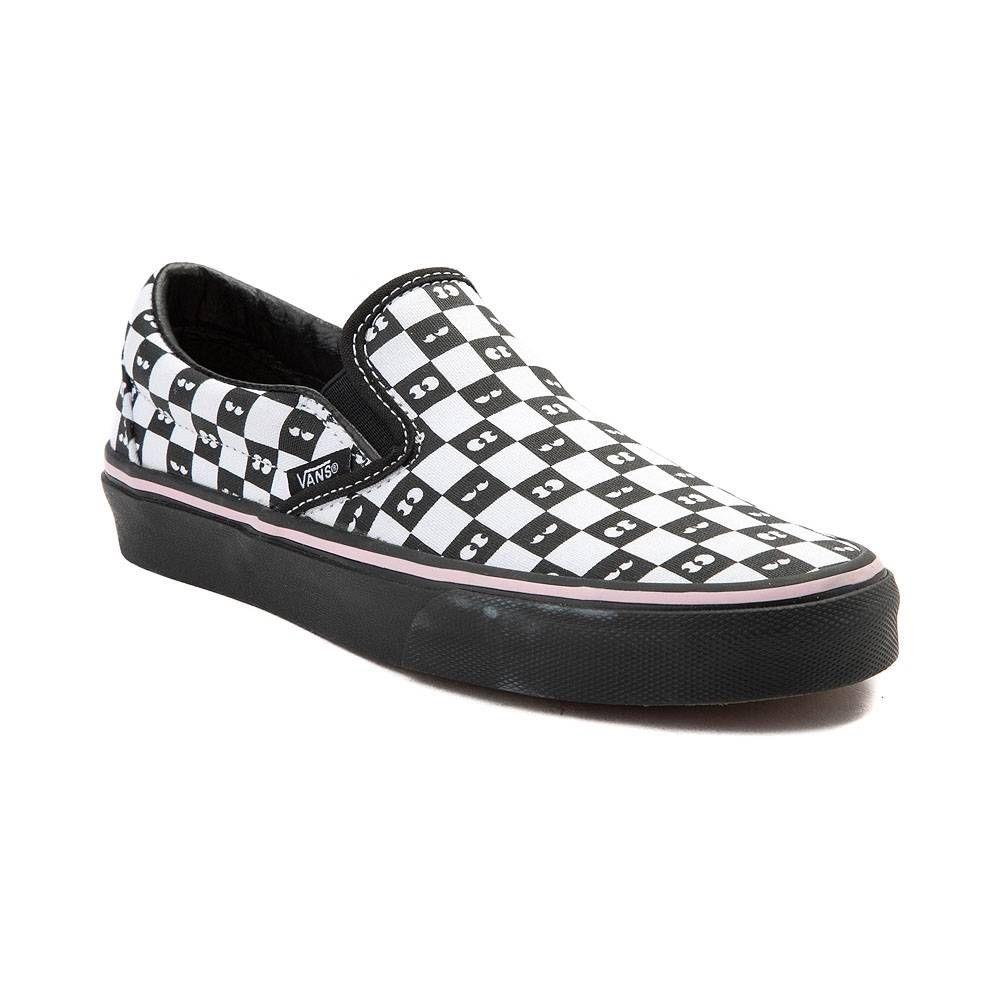 462316607a7095 Vans Slip On Lazy Oaf Chex Skate Shoe - White Black - 497236