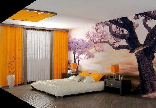 Japanische Schlafzimmer wohnideen schlafzimmer modern gelbe akzente japanische wanddeko