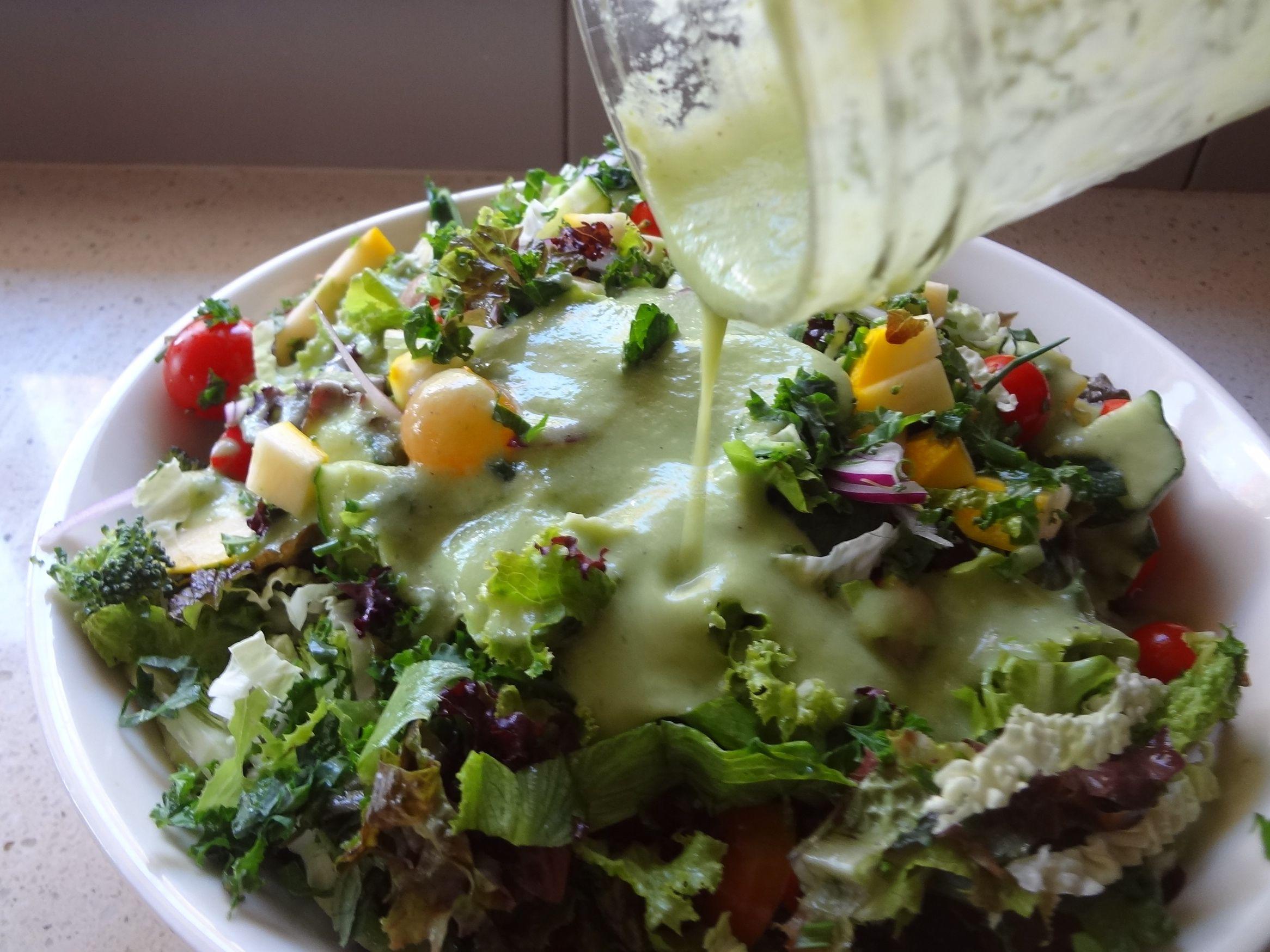 Single serving oilfree raw vegan salad dressing In a