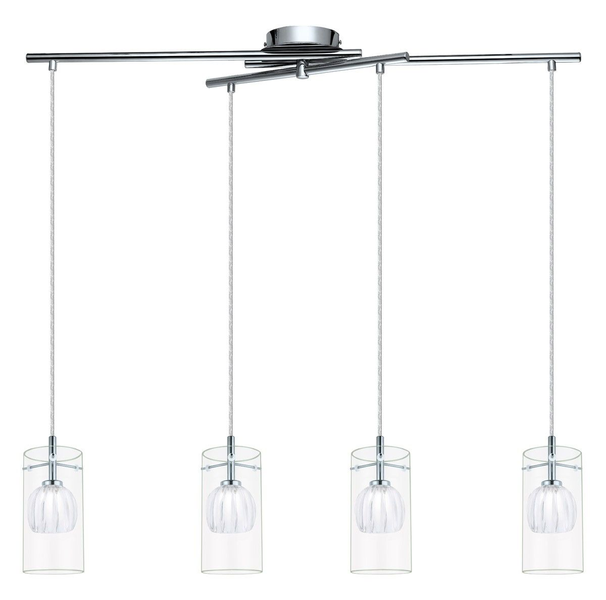 EGLO 93104A Ricabo 4-Light Pendant in Chrome with Satin & Clear Glass