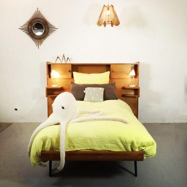 tete de lit des annees 50 60 bois et