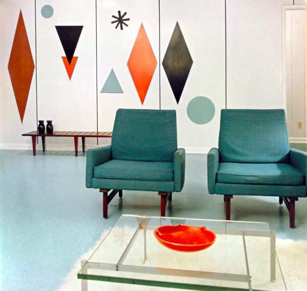The Colours of Mid Century Modern - painted shapes on the wall hmm