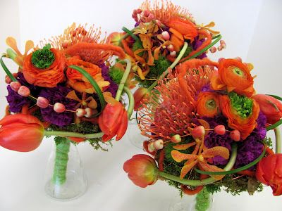 Massive amount of texture for these bridesmaids!   #purple #orange #TangerineTango