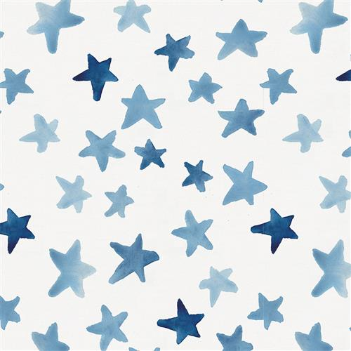 Blue Watercolor Stars Fabric