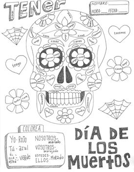 Dia de los muertos ~color by verb conjugation ~Day of the