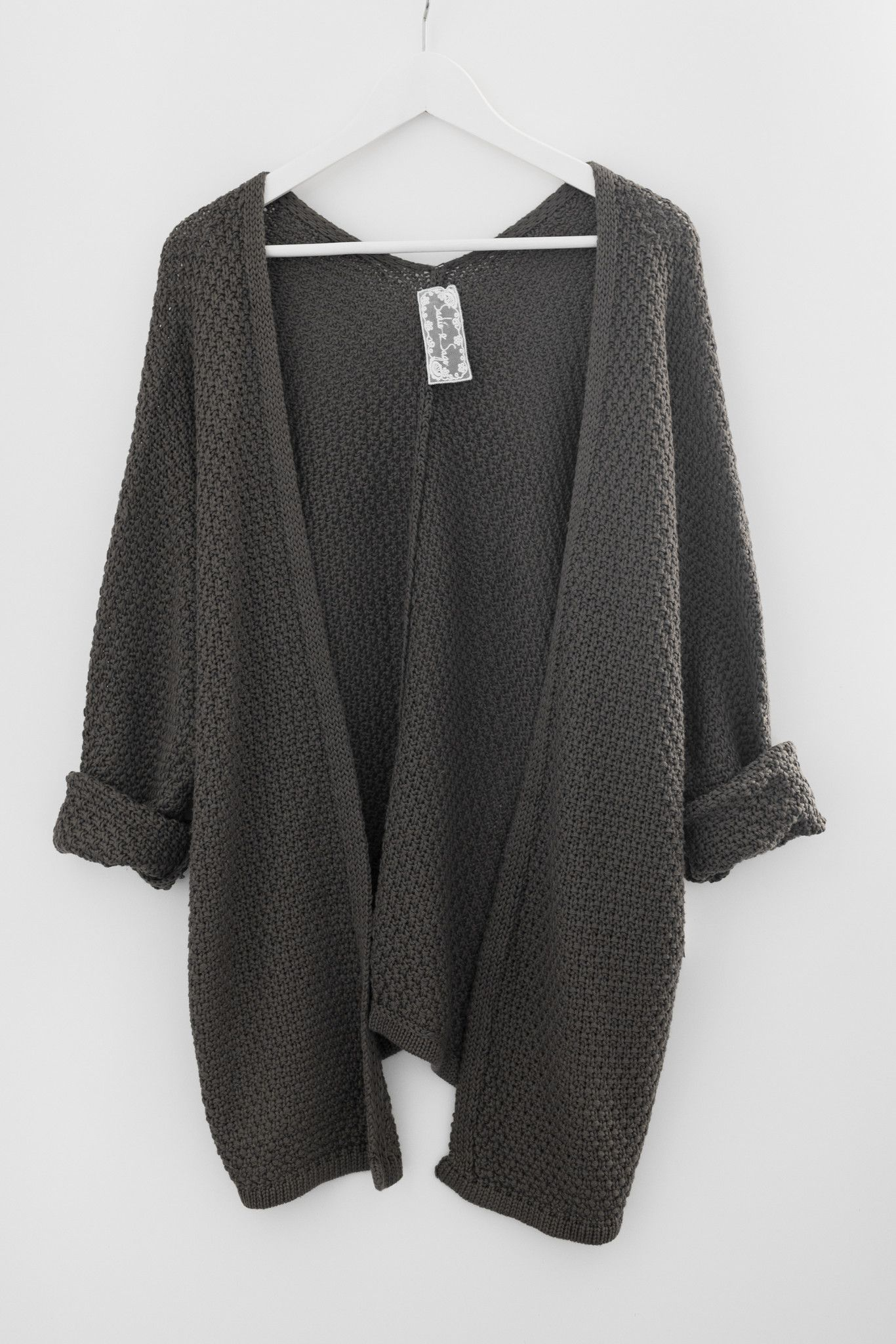 Slouchy sweater knit cardigan - Long dolman sleeves - Loose ...