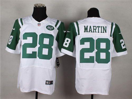 36f5bc4c25d Nike New York Jets  28 Curtis Martin White Elite Jersey