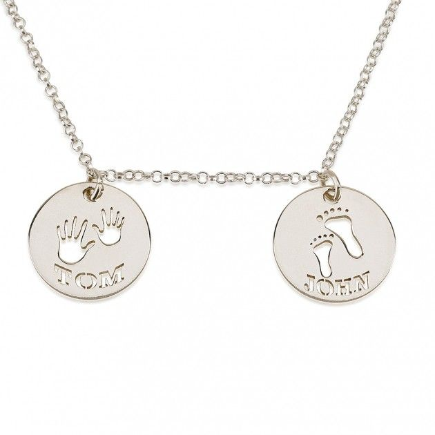 2 Circles with Cut Out Names and Handprint & Footprint .925 Sterling Silver Personalized Necklace