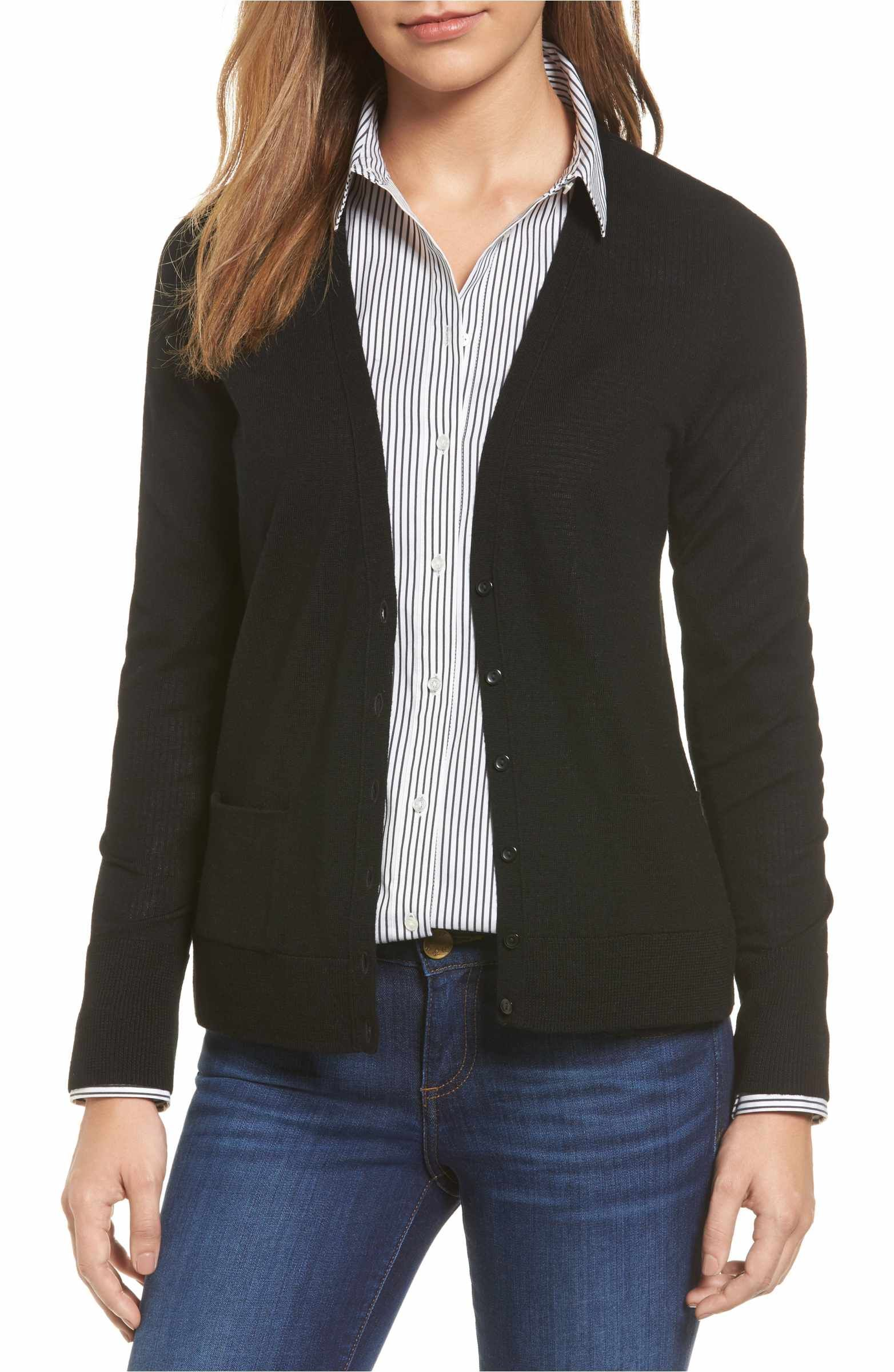 963c282aeed7 Main Image - Halogen® V-Neck Merino Wool Cardigan (Regular & Petite ...