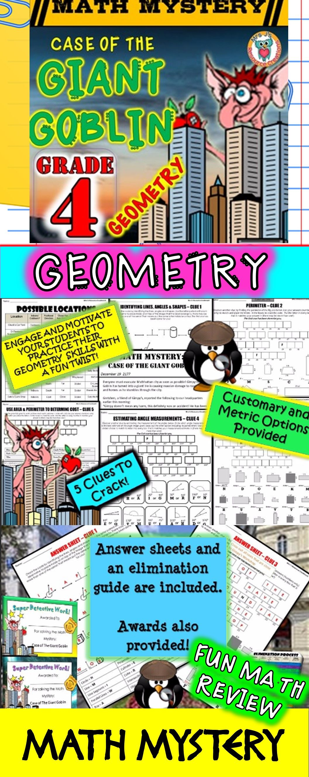 4th Grade Geometry Review Math Mystery: Lines, Angles