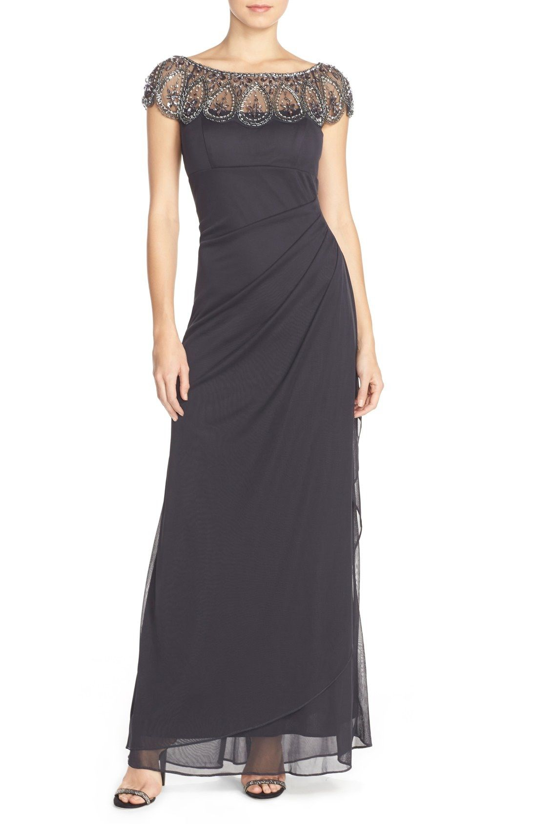 Xscape Embellished Illusion Ruched Jersey Gown available at ...
