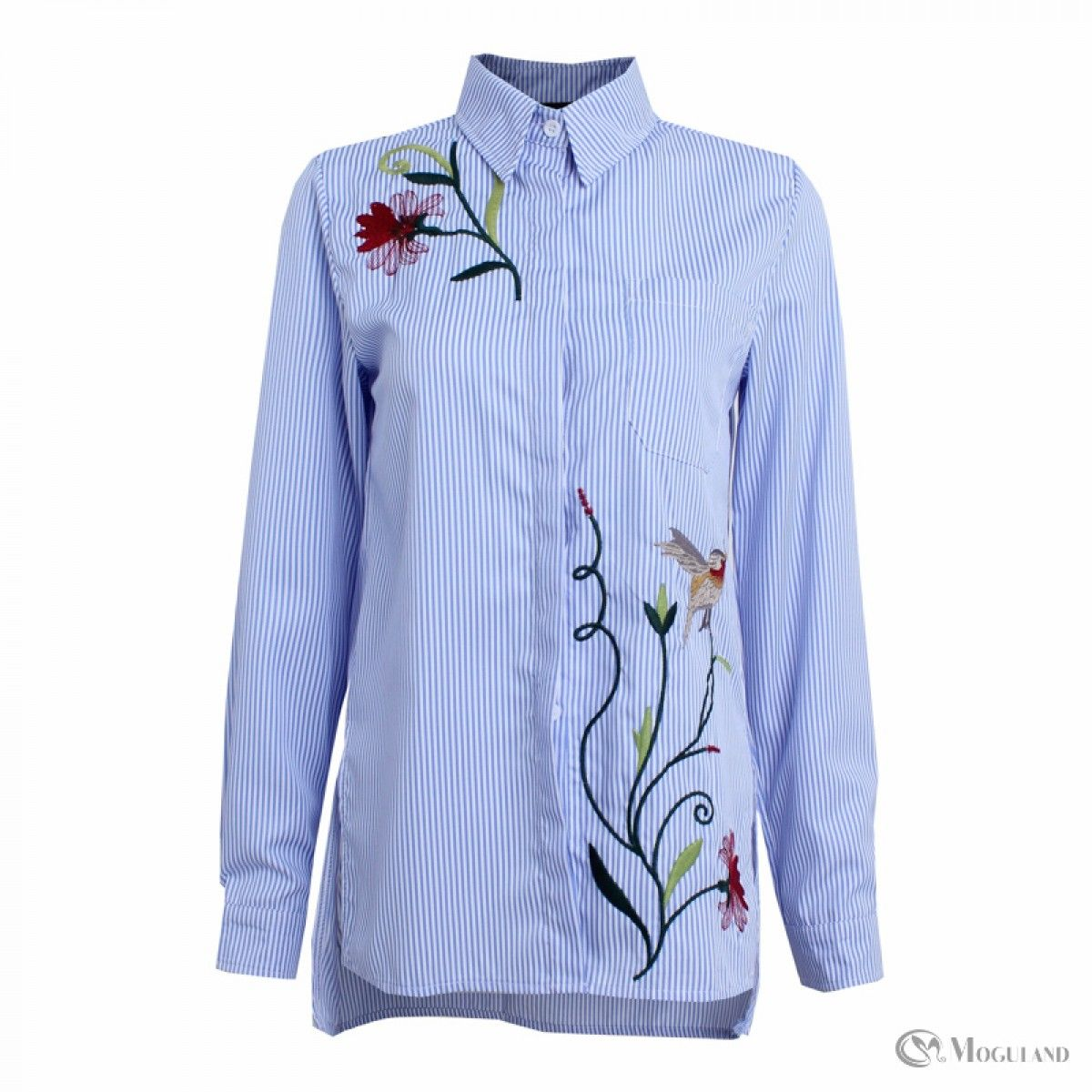 Ladies blue stripe floral embroidered button down shirt wholesale ...