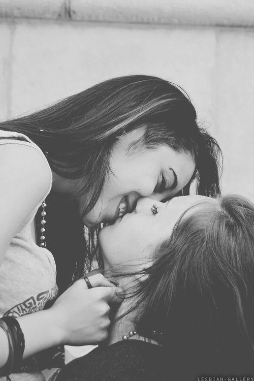 Lesbian cute kiss