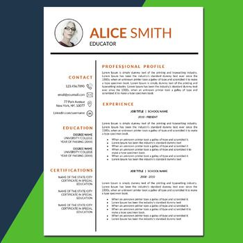 TEACHER RESUME Template with Photo for MS Word, Cover and References