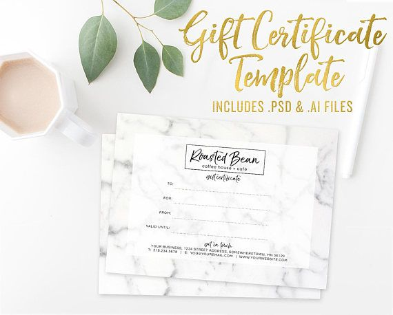 Marble Gift Certificate Card Template Photoshop Template Studio