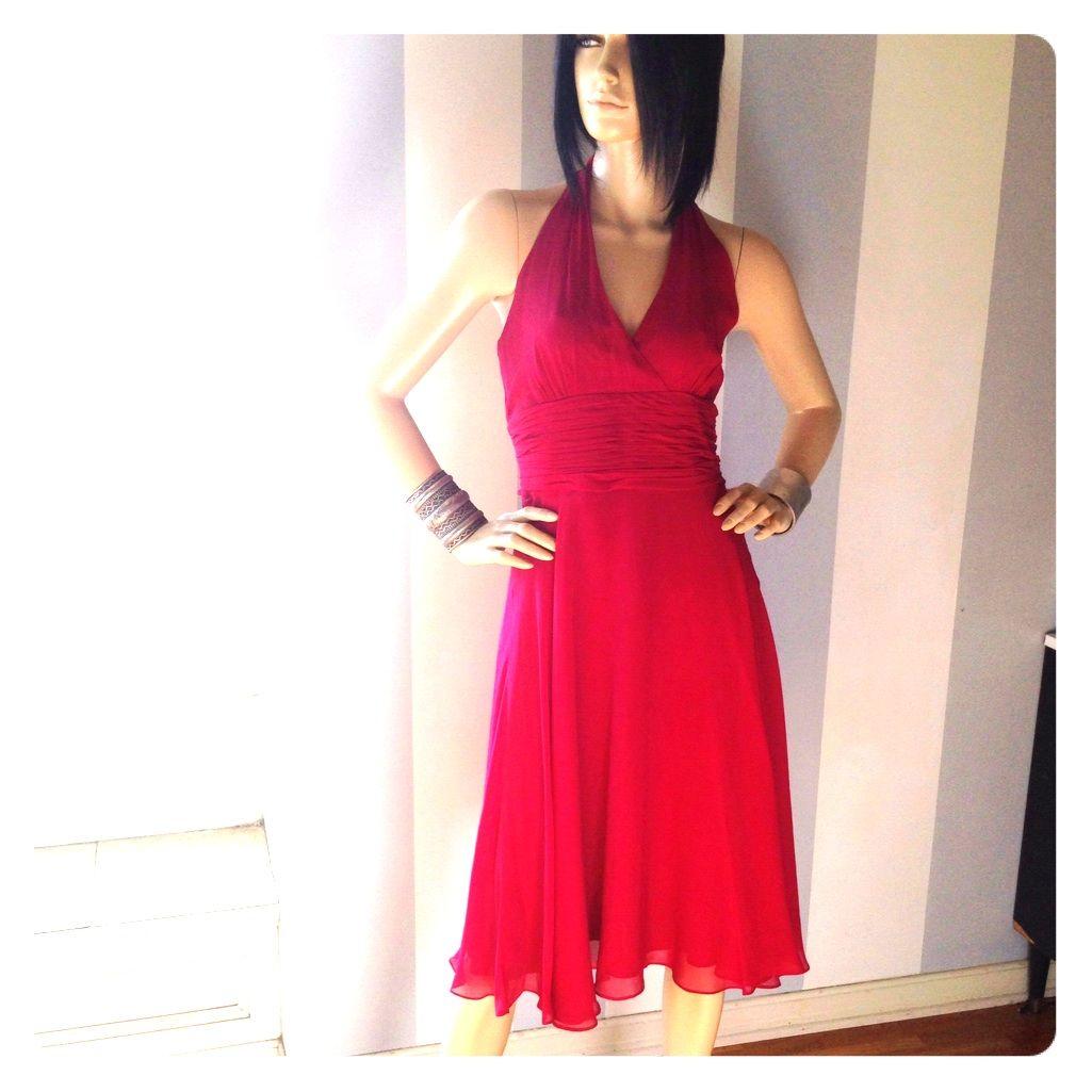 Deep crimson silk chiffon halter dress products