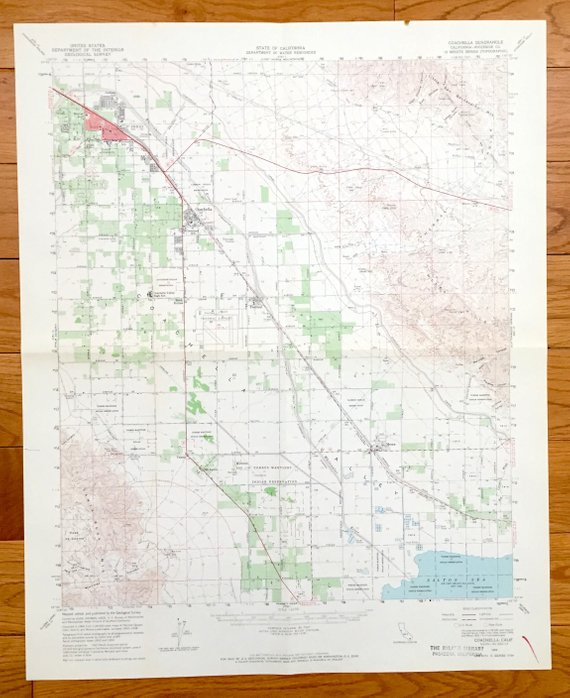 Antique Coachella California 1956 Us Geological Survey Topographic