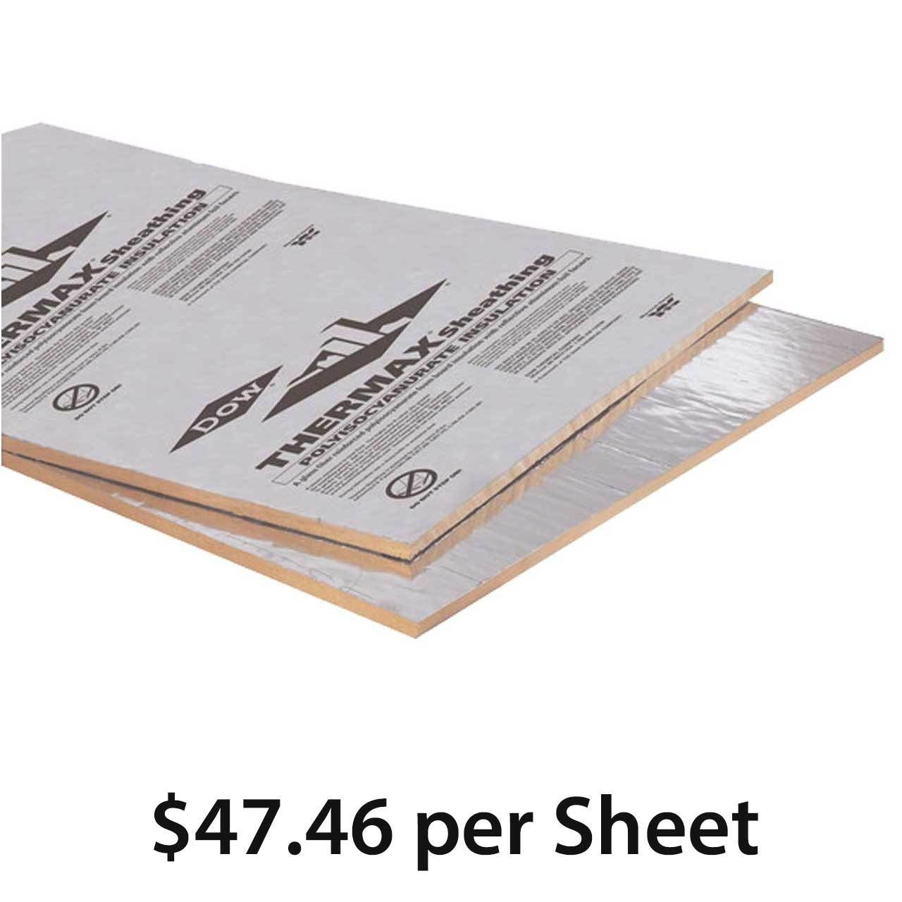 Thermax Sheathing Foil Finish 1 55 In 4 X8 Sheet R 10 1 Sheathing Rigid Board Insulation Foil Tape
