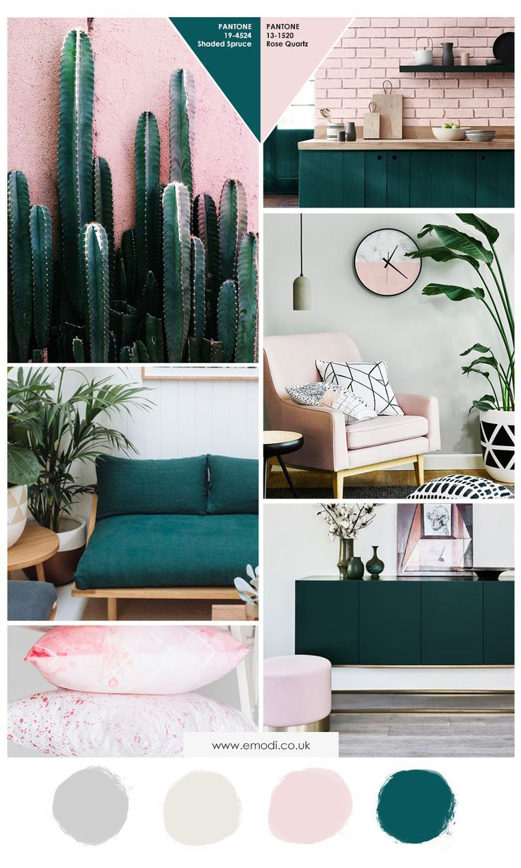 Green and pink Interior colour moodboard, inspiration colour theme