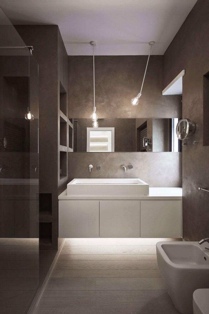 bois salle de bains taupe moderne avec clairage indirecte - Eclairage Indirect Salle De Bain