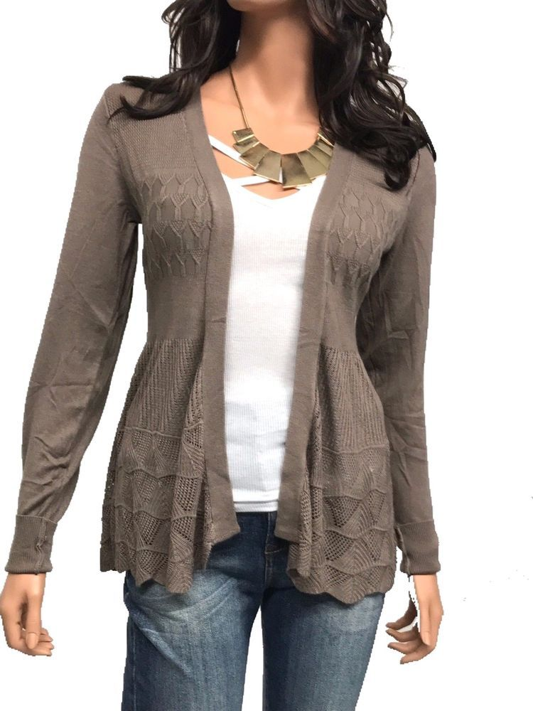 New Women Cardigan Long Sleeve Solid Open Front Sweater 1XL, 2XL, 3XL