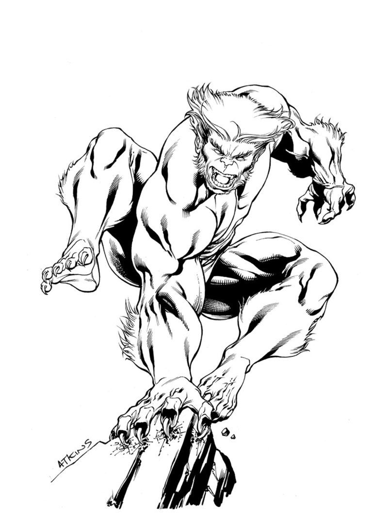 X Men Month Beast Sotd By Robert Atkins Comic Drawing Beast Coloring Pages