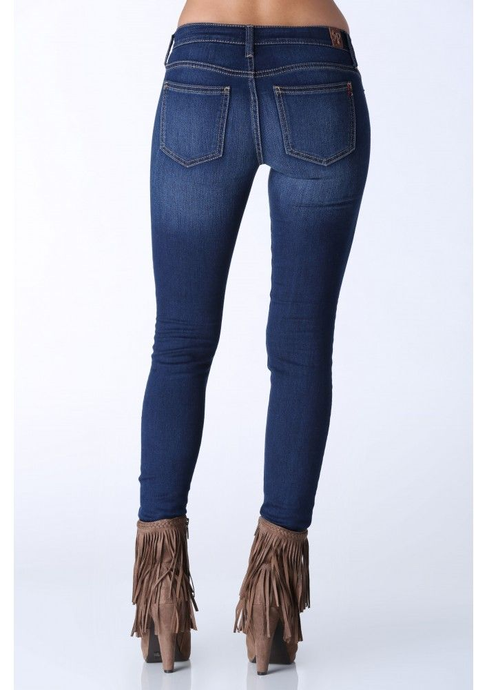 Andre Knee Slit Skinny Jeans in Blue | Necessary Clothing