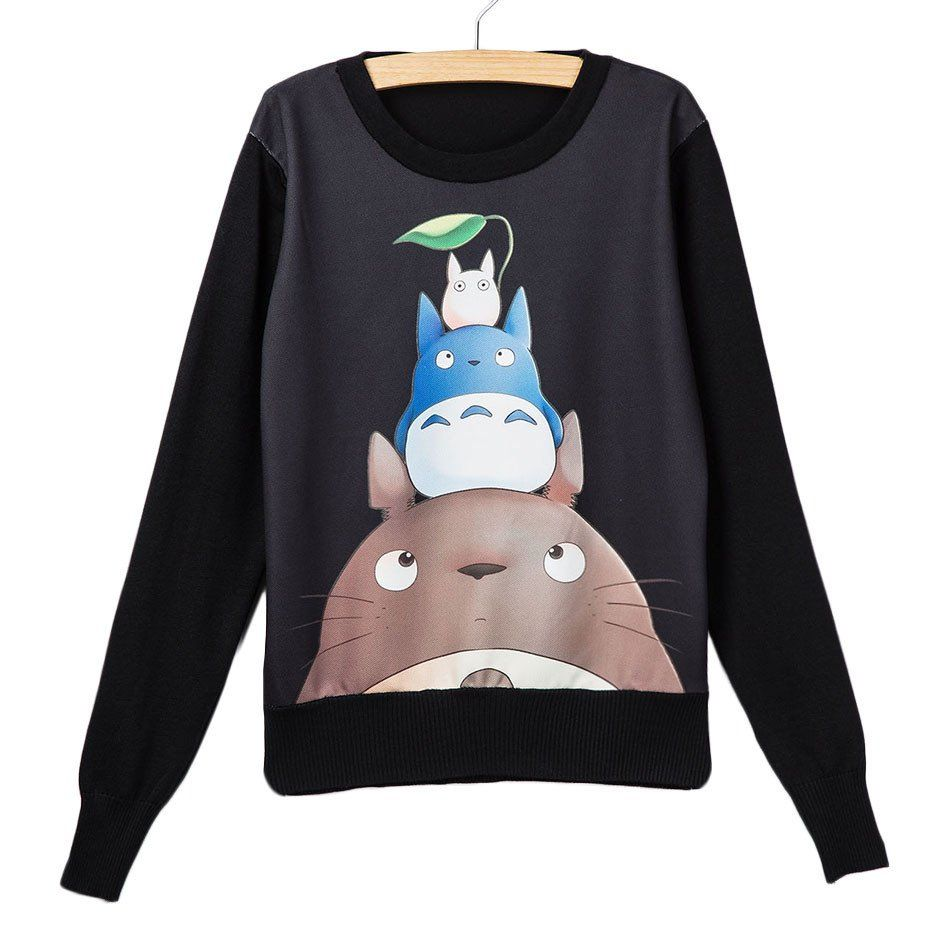 My Neighbor Totoro Leaf Black Sweatshirt Printed Sweatshirt Women Kawaii Sweater Girl Sweatshirts [ 950 x 950 Pixel ]